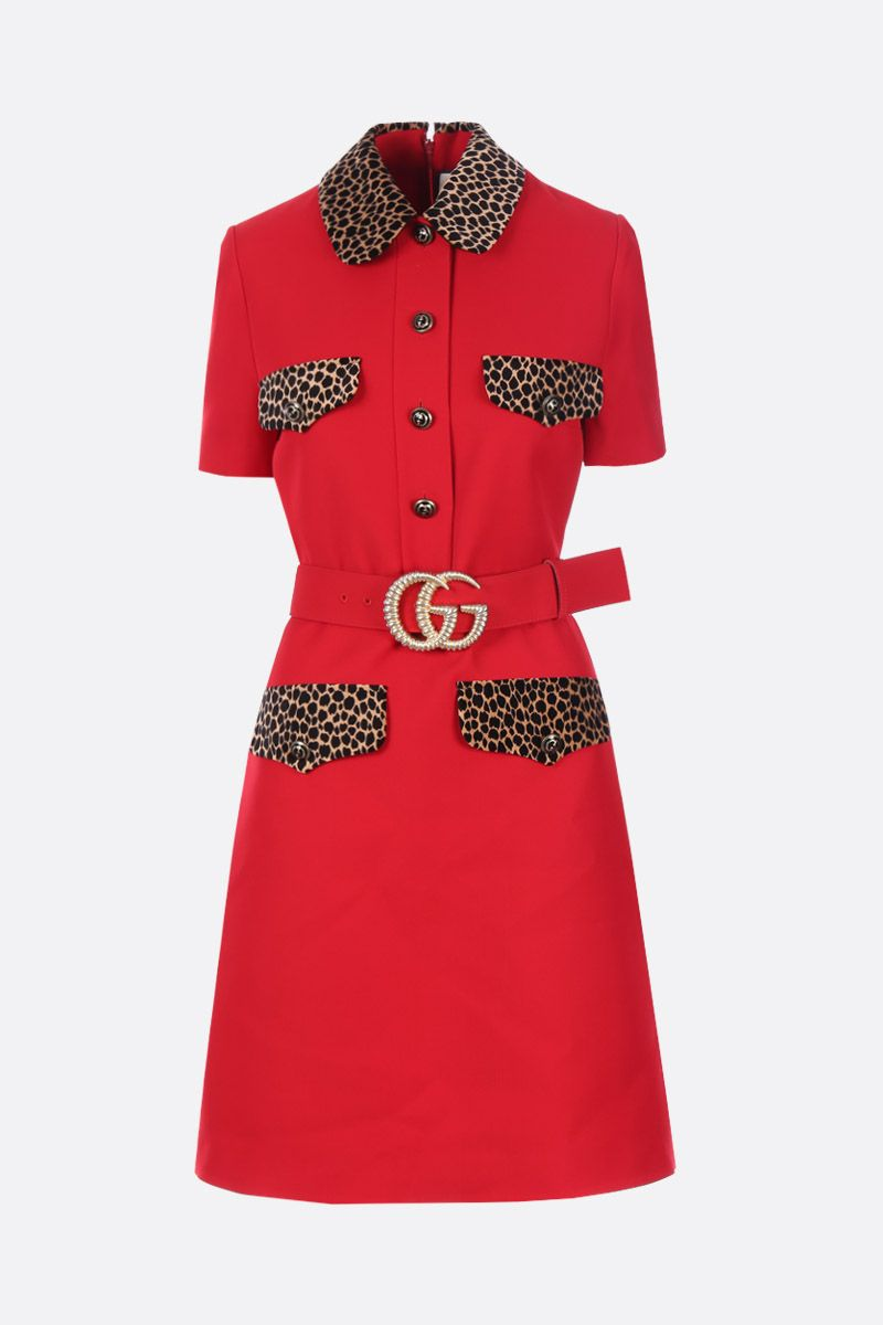 GUCCI: wool and silk short dress with leopard velvet details Color Red_1