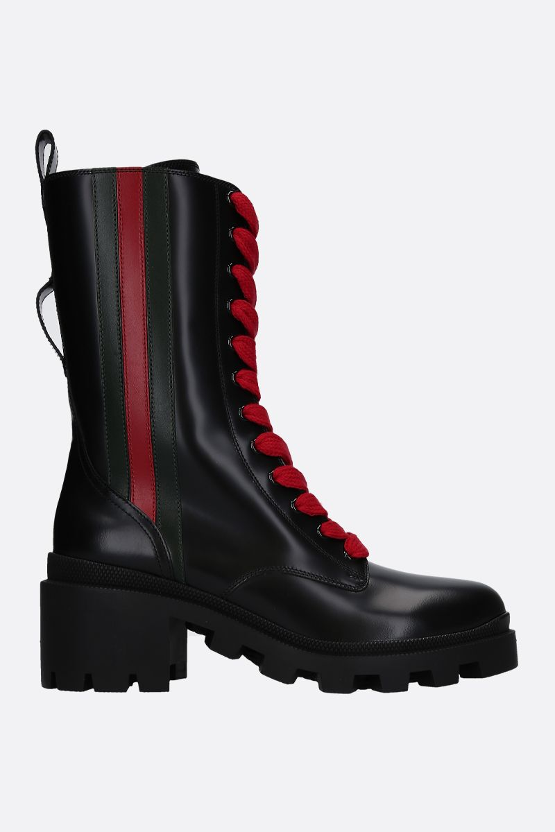 GUCCI: Web-detailed shiny leather combat boots Color Black_1