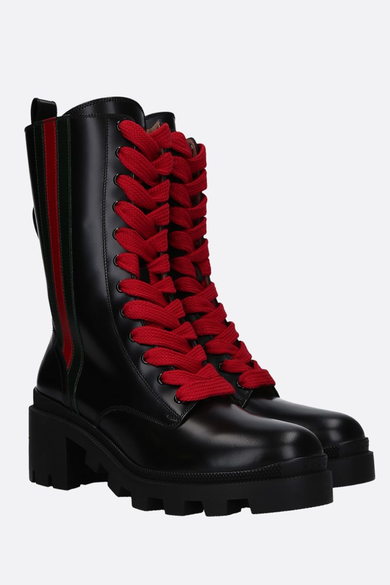 GUCCI: Web-detailed shiny leather combat boots Color Black_2