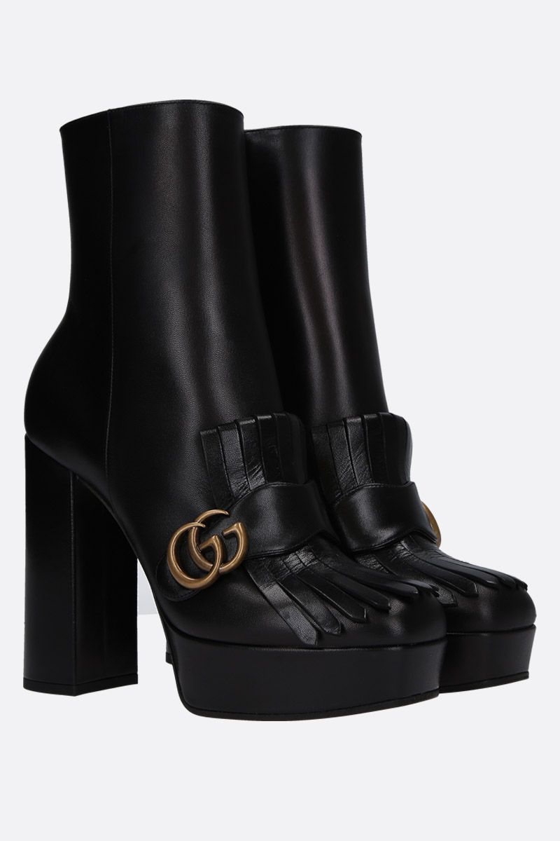 GUCCI: soft leather platform booties Color Black_2