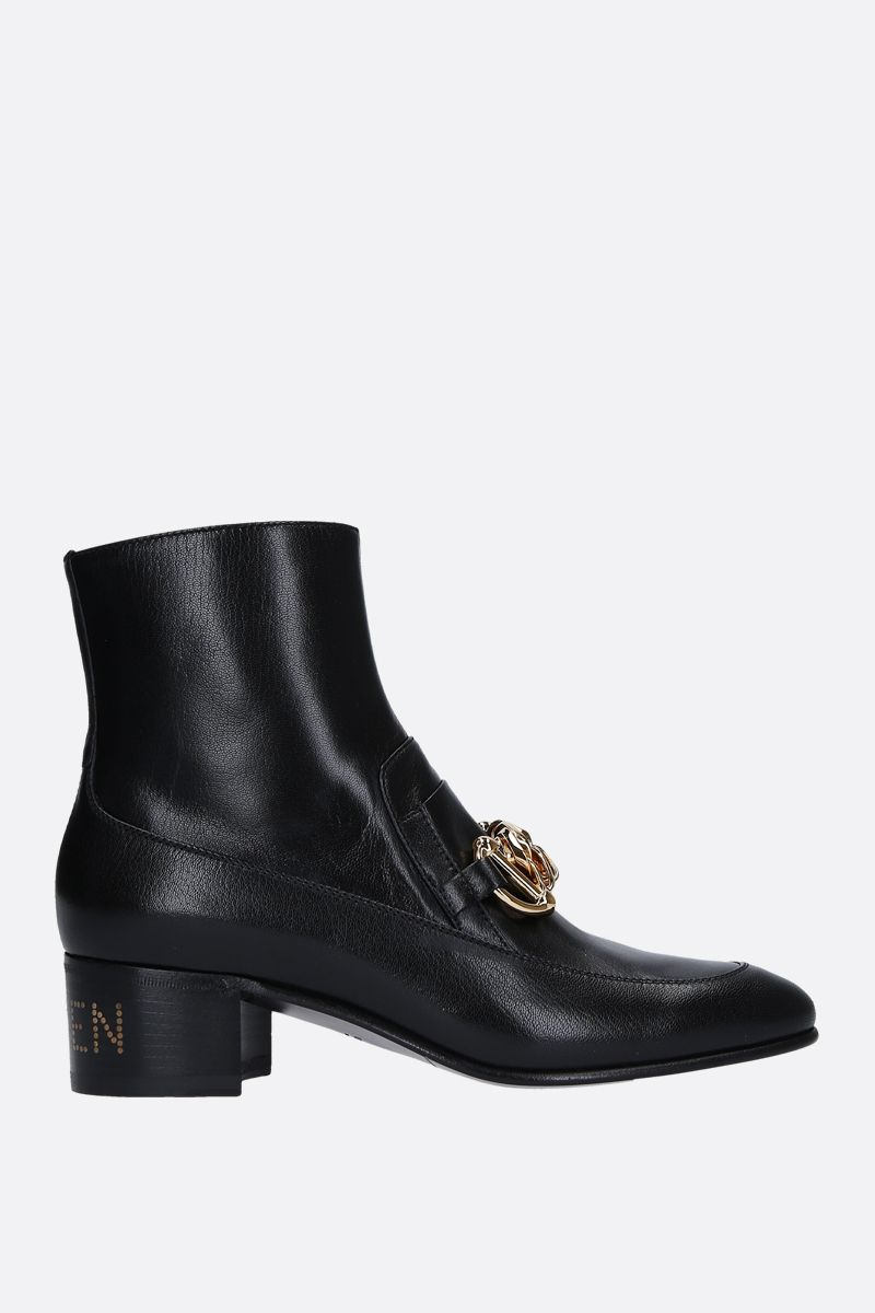 GUCCI: shiny leather ankle boots with chain horsebit Color Black_1
