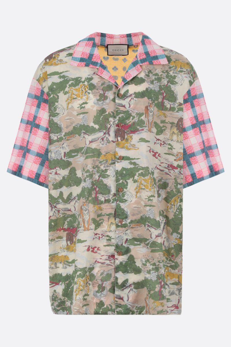 GUCCI: oversized bowling shirt in printed cotton Color Multicolor_1