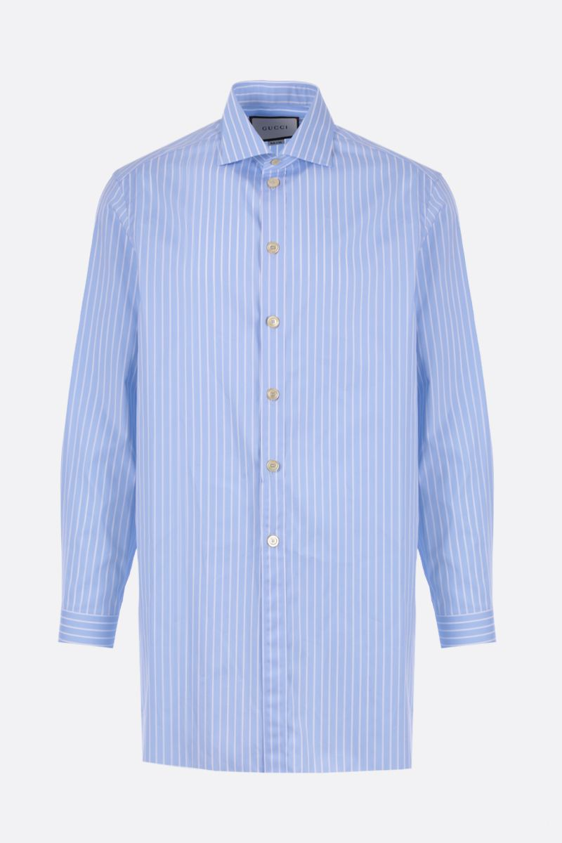 GUCCI: oversized striped poplin shirt Color Blue_1