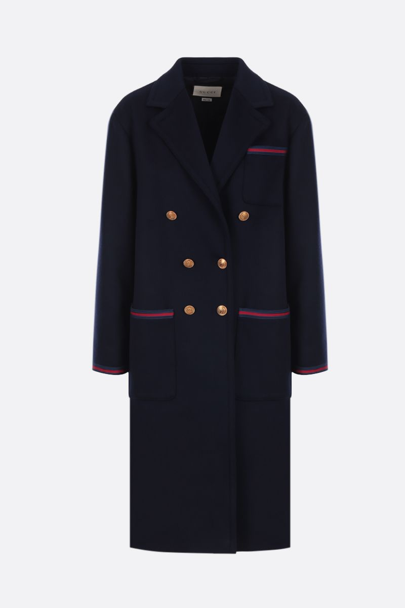 GUCCI: wool oversized coat with Web details Color Blue_1