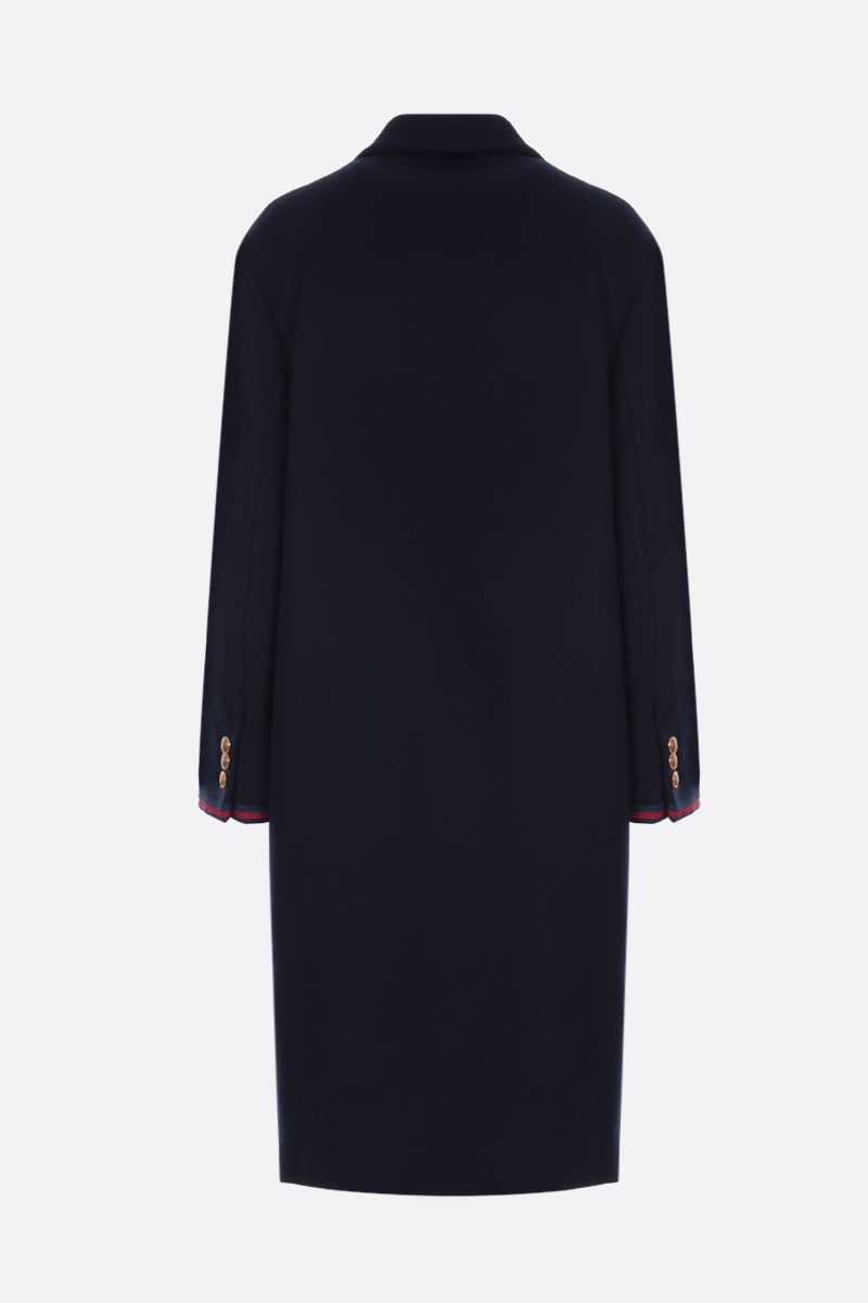 GUCCI: wool oversized coat with Web details Color Blue_2