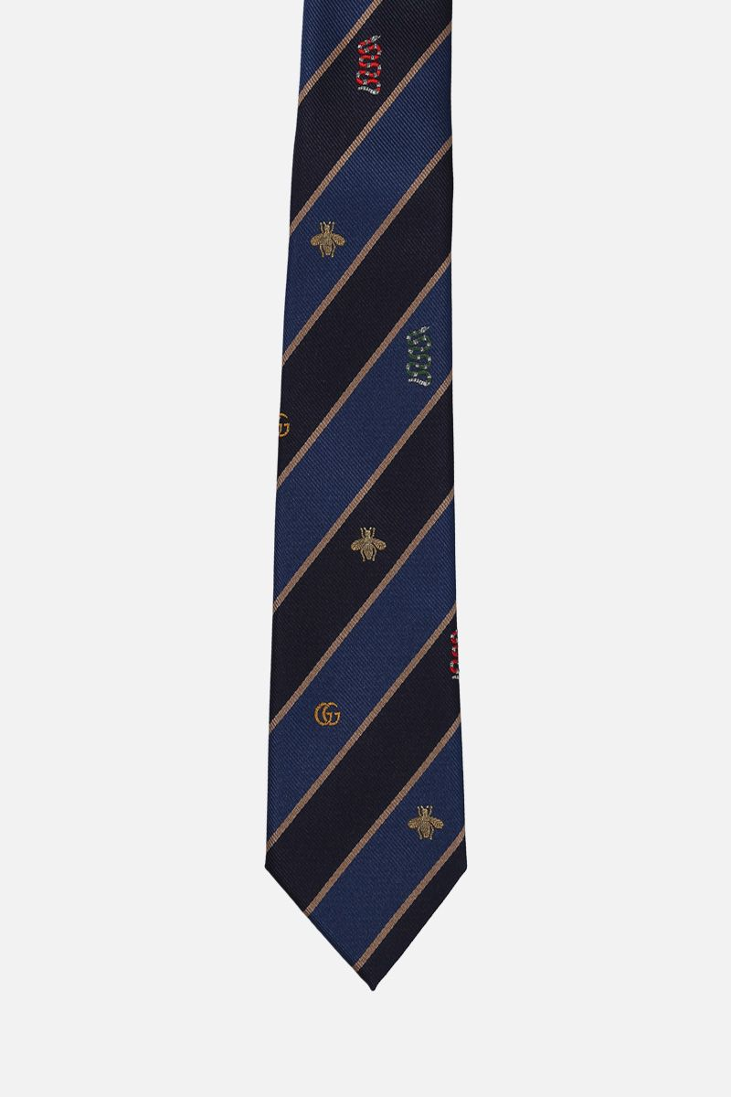 GUCCI: Snake, Bee and GG embroided striped twill tie Color Pink_1
