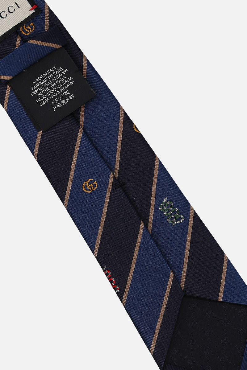 GUCCI: Snake, Bee and GG embroided striped twill tie Color Pink_2
