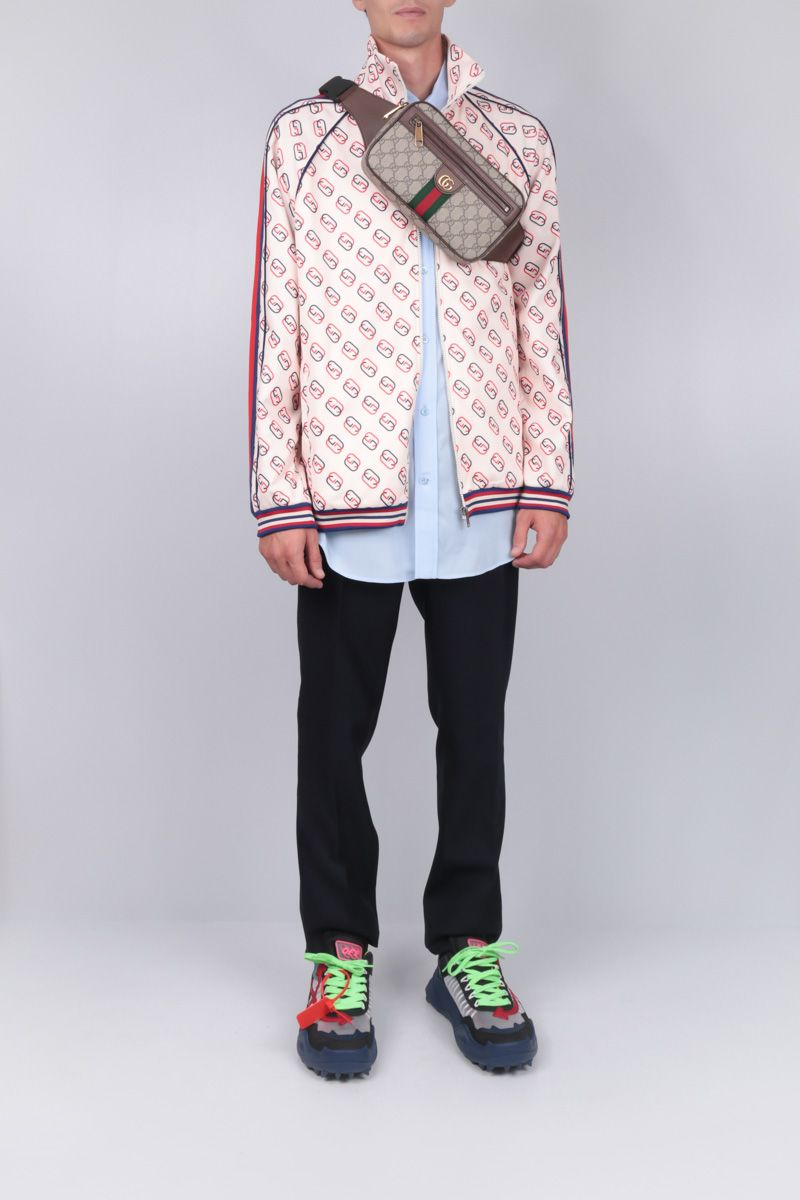 GUCCI: oversized sweatshirt in GG technical jersey Color White_2