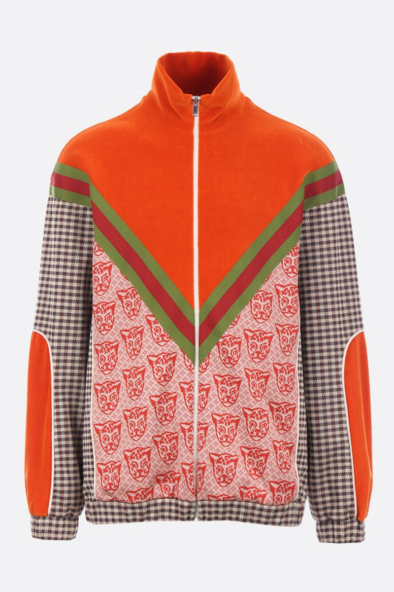 GUCCI: oversized sweatshirt in velvet and printed jersey_1