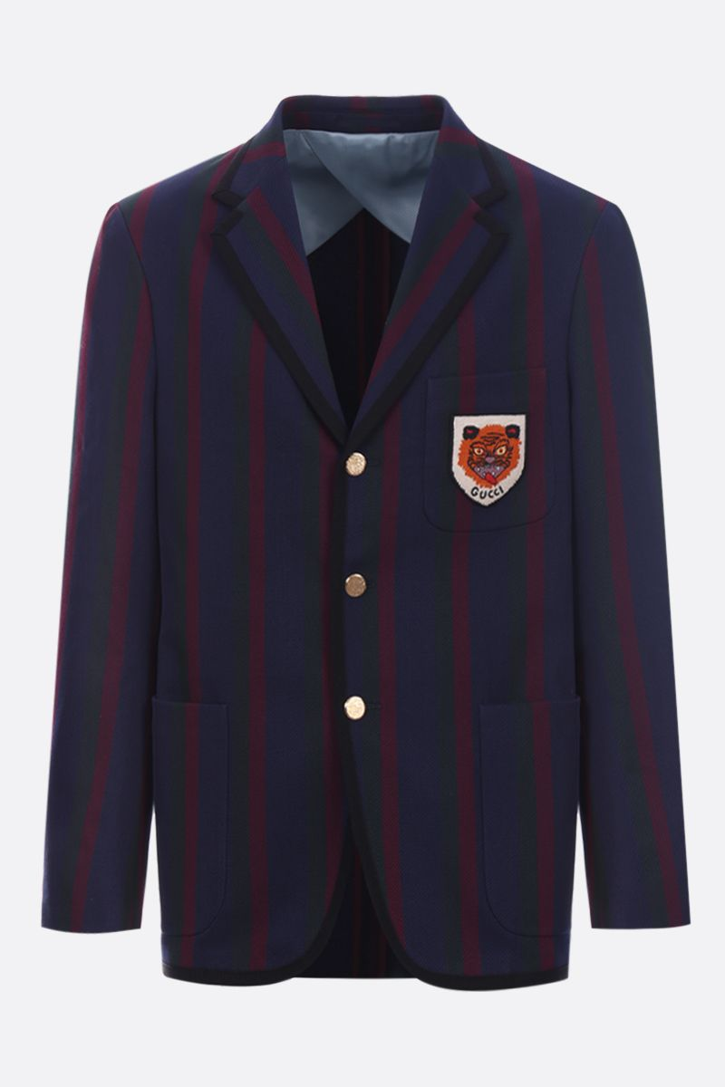 GUCCI: Tiger patch striped cotton single-breasted jacket_1