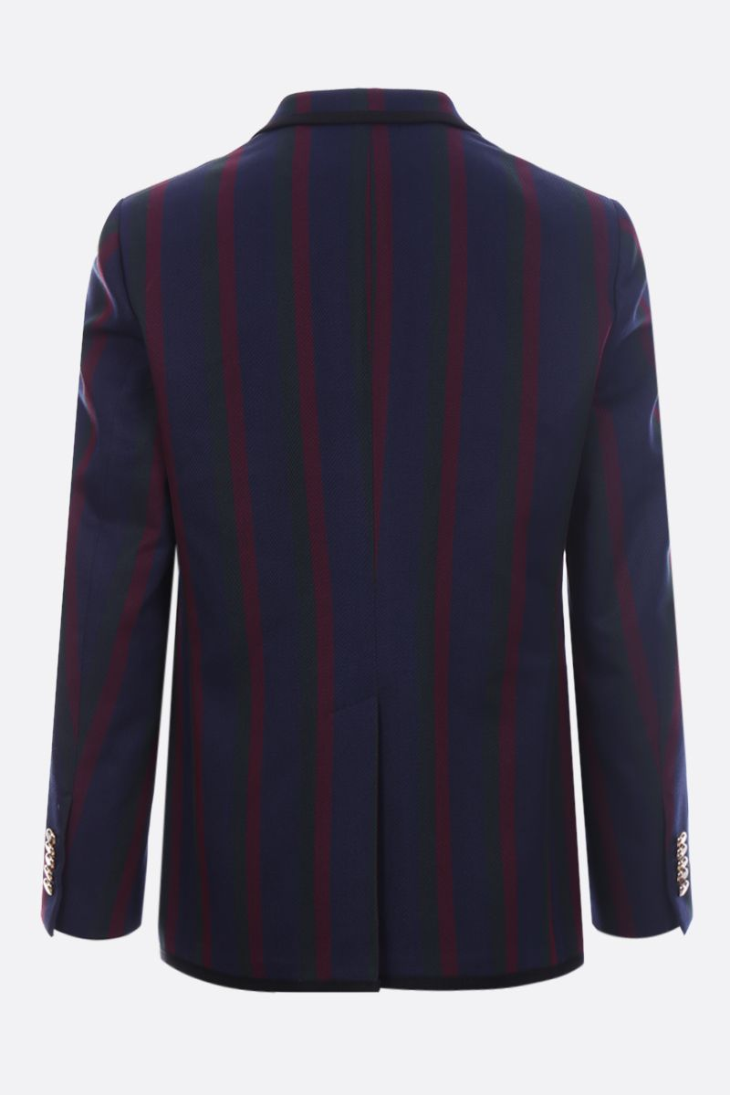 GUCCI: Tiger patch striped cotton single-breasted jacket_2