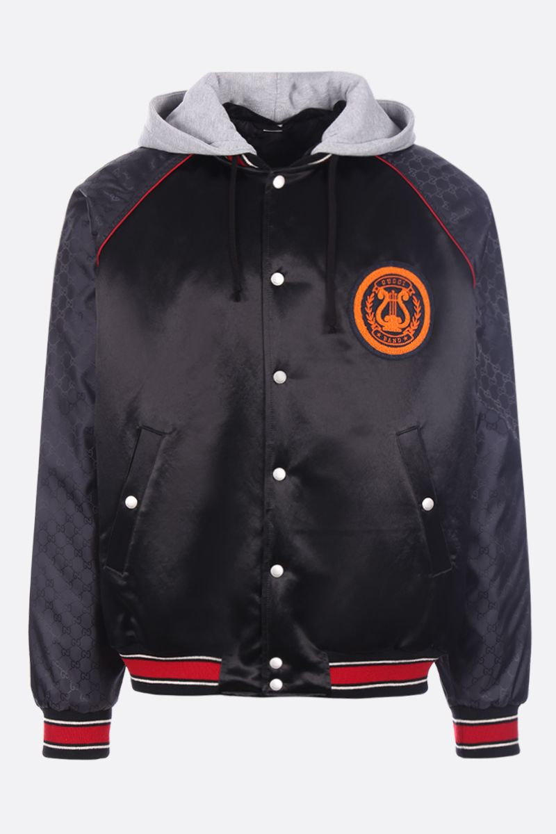 GUCCI: Gucci Band patch satin padded bomber jacket Color Black_1