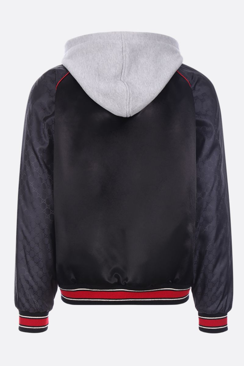 GUCCI: Gucci Band patch satin padded bomber jacket Color Black_2