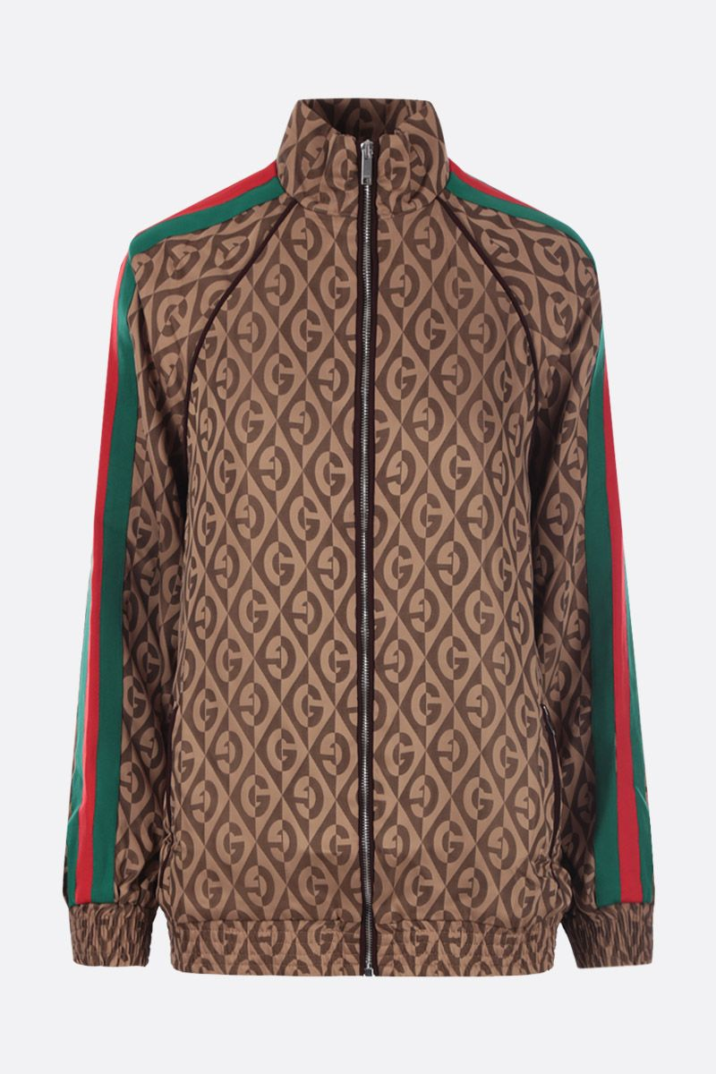 GUCCI: G rhombus jacquard bomber jacket Color Brown_1
