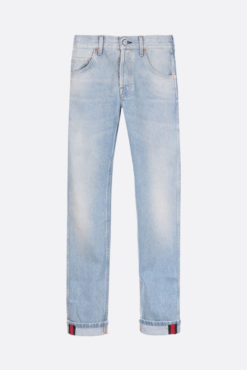 GUCCI: cropped jeans with Web detail Color Blue_1