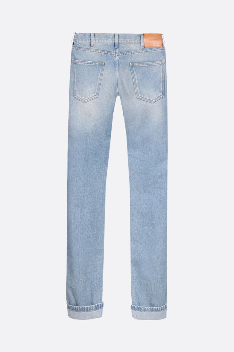 GUCCI: cropped jeans with Web detail Color Blue_2