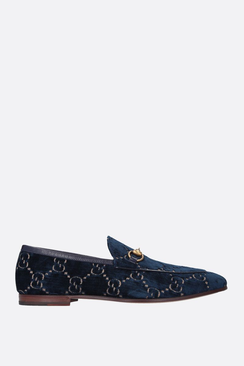 GUCCI: Gucci Jordaan GG velvet loafers Color Blue_1