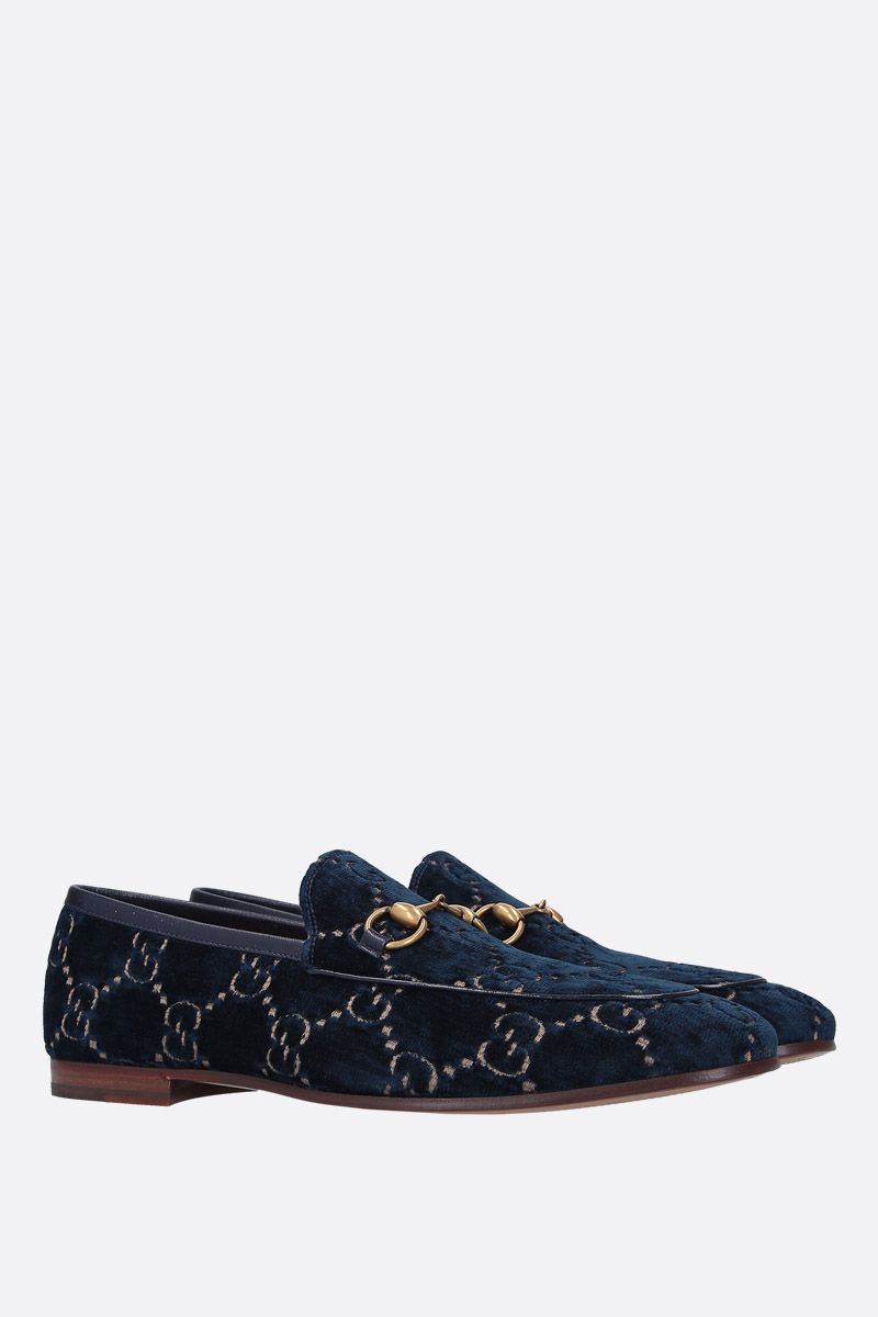 GUCCI: Gucci Jordaan GG velvet loafers Color Blue_2