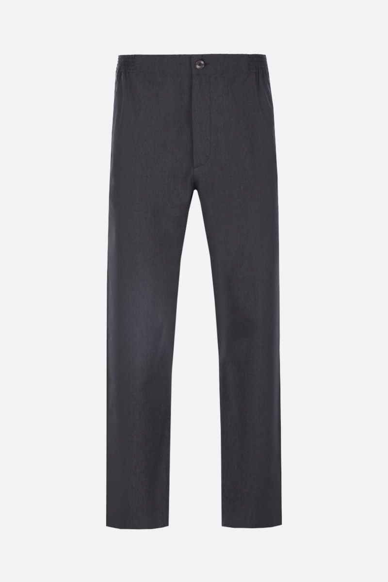 GUCCI: wool pants with logo label Color Grey_1