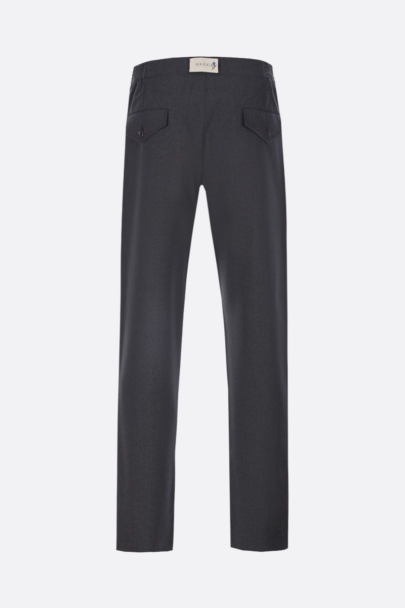 GUCCI: wool pants with logo label Color Grey_2