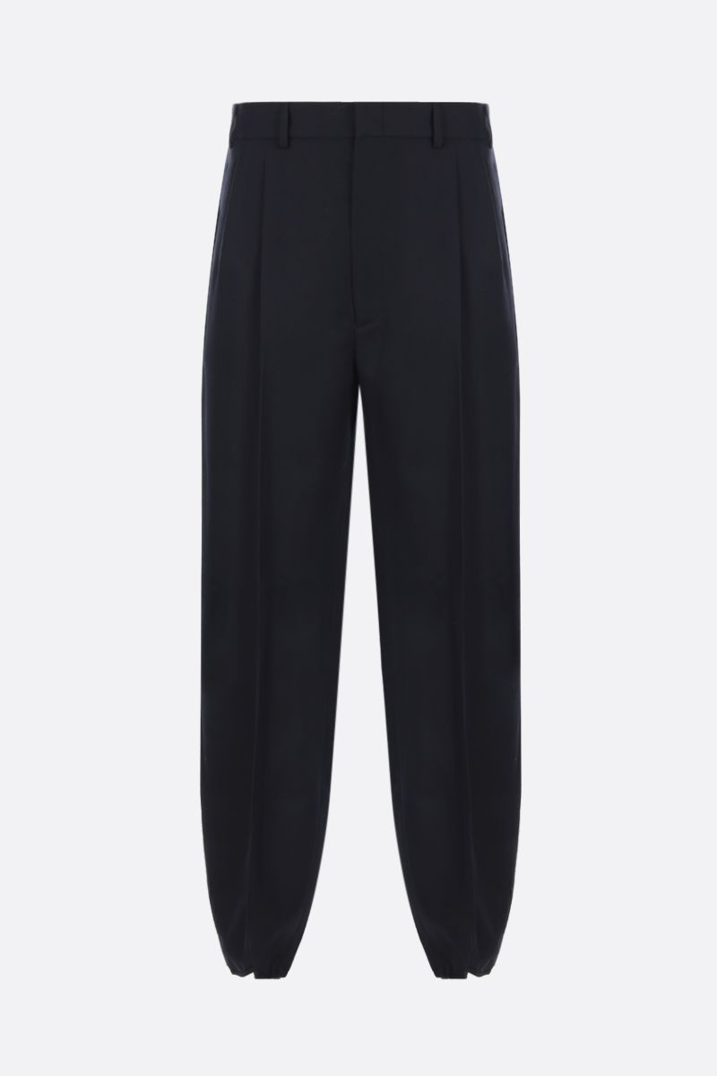 GUCCI: wool gabardine pleated pants Color Blue_1