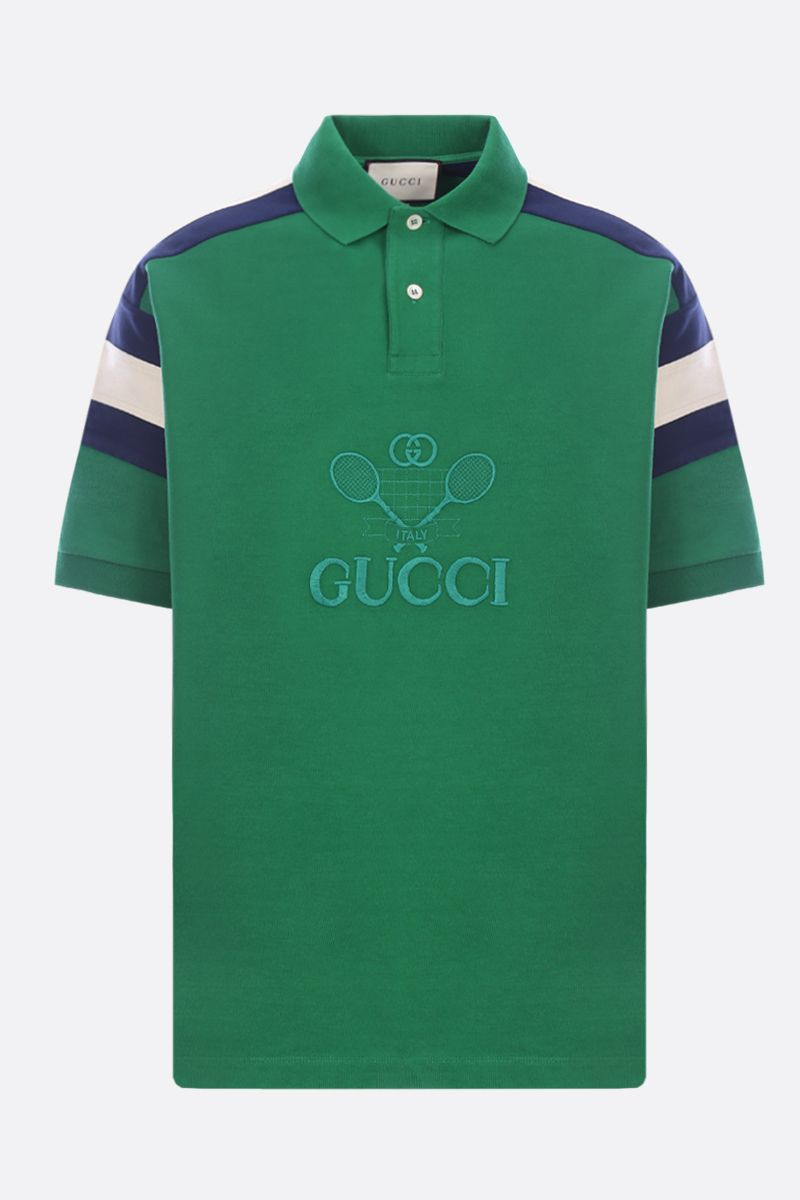 GUCCI: Gucci Tennis embroidered jersey oversize polo shirt Color Green_1