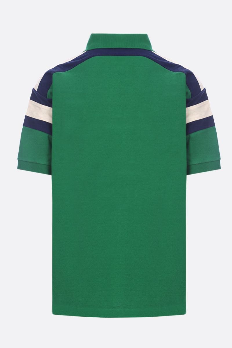GUCCI: Gucci Tennis embroidered jersey oversize polo shirt Color Green_2