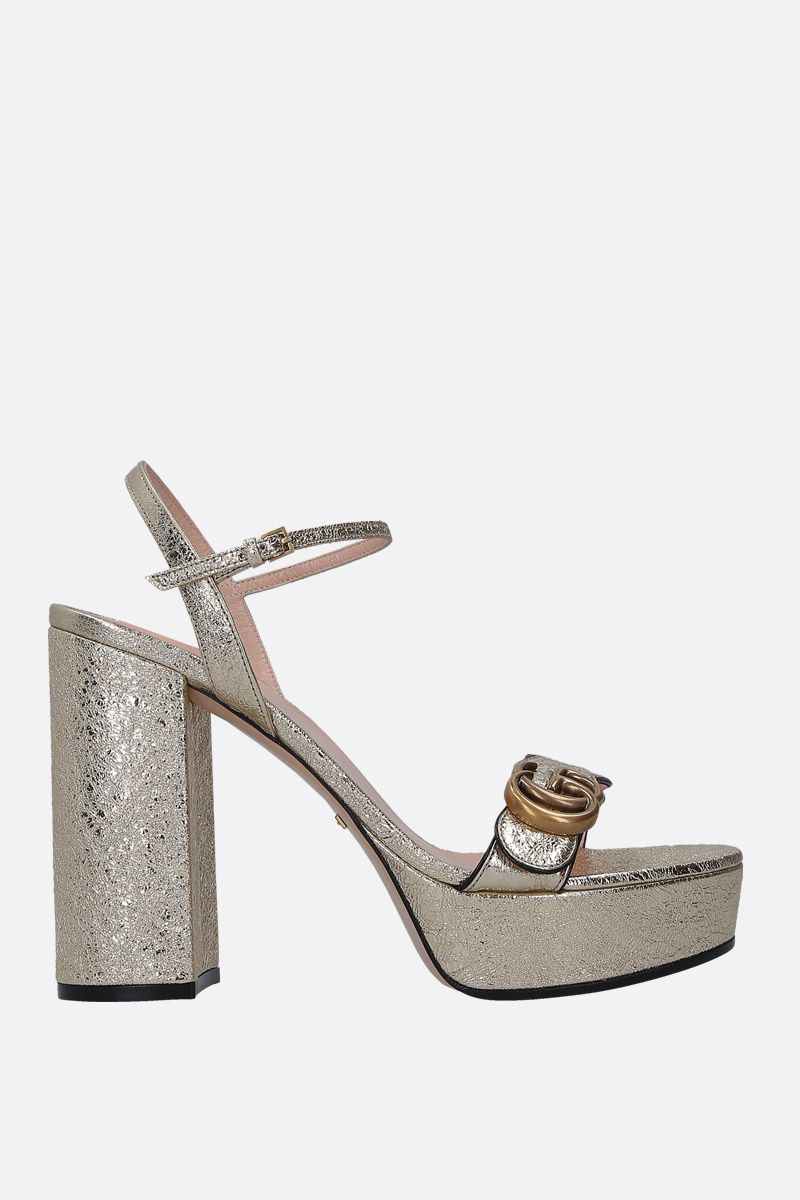 GUCCI: crinkle leather platform sandals Color Silver_1