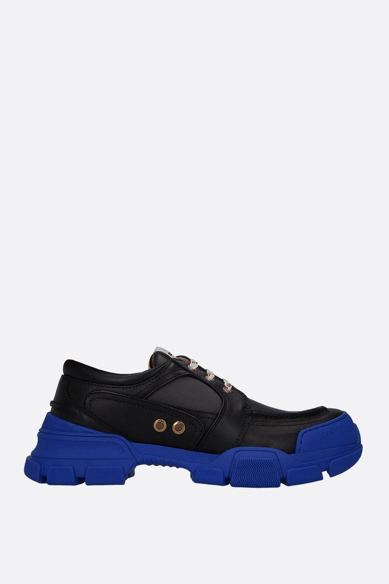 GUCCI: smooth leather and nylon low-top sneakers Color Multicolor_1