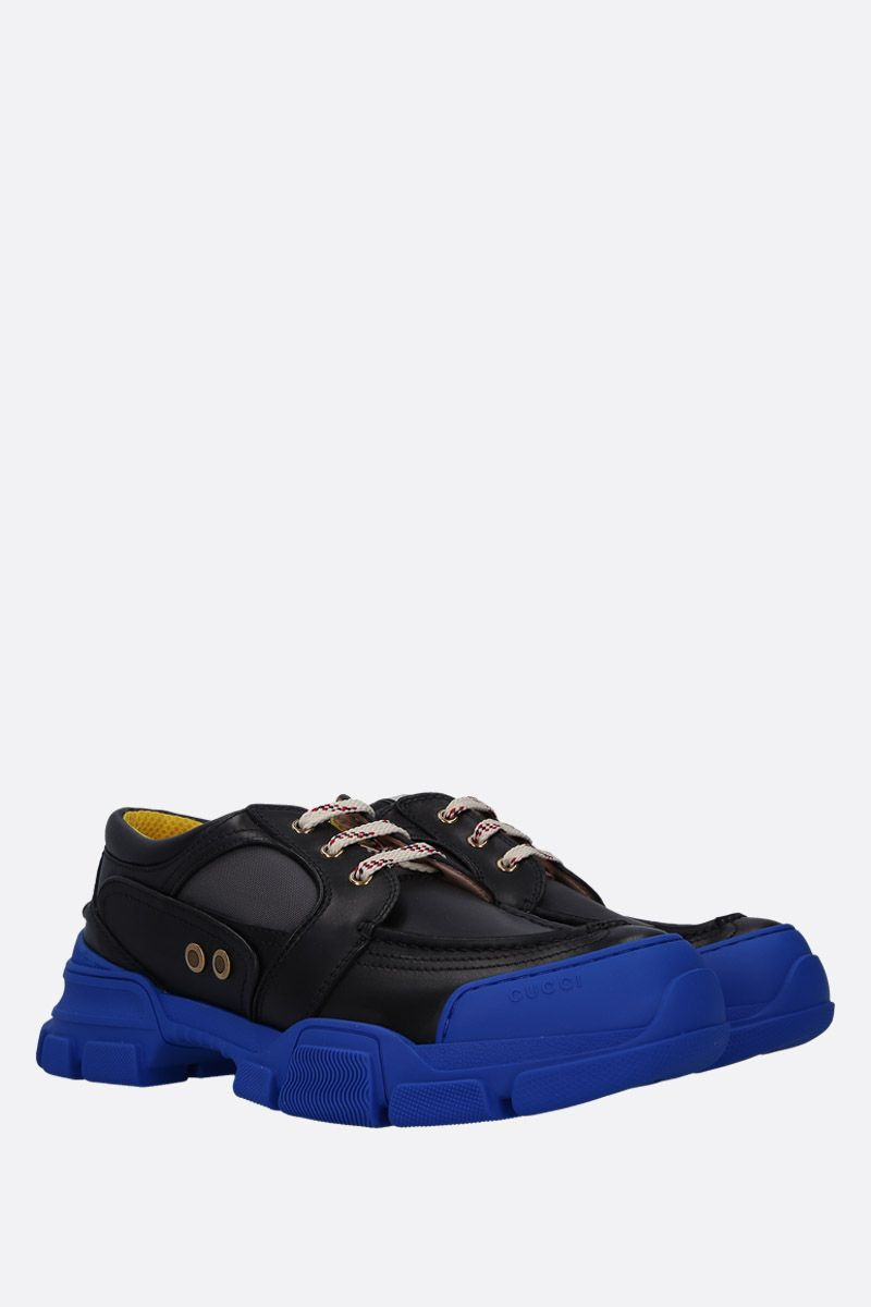 GUCCI: smooth leather and nylon low-top sneakers Color Multicolor_2