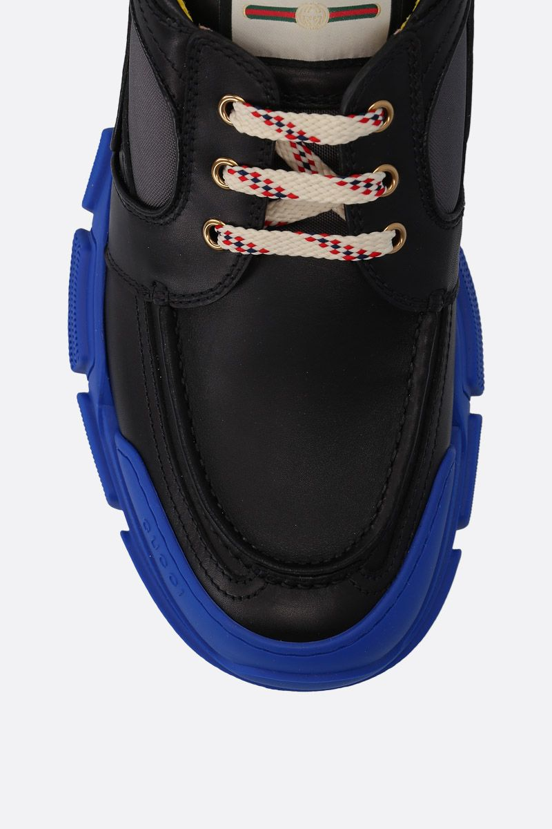 GUCCI: smooth leather and nylon low-top sneakers Color Multicolor_4