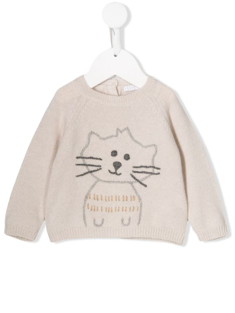 IL GUFO: kitty embroidered wool pullover Color Neutral_1