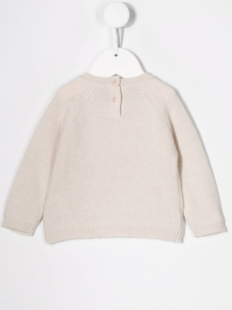 IL GUFO: kitty embroidered wool pullover Color Neutral_2