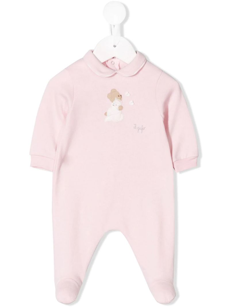 IL GUFO: teddy bear patch cotton jumpsuit Color Pink_1