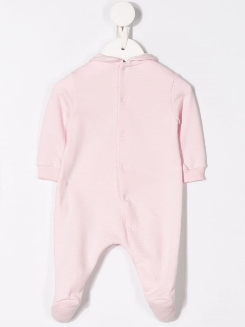 IL GUFO: teddy bear patch cotton jumpsuit Color Pink_2