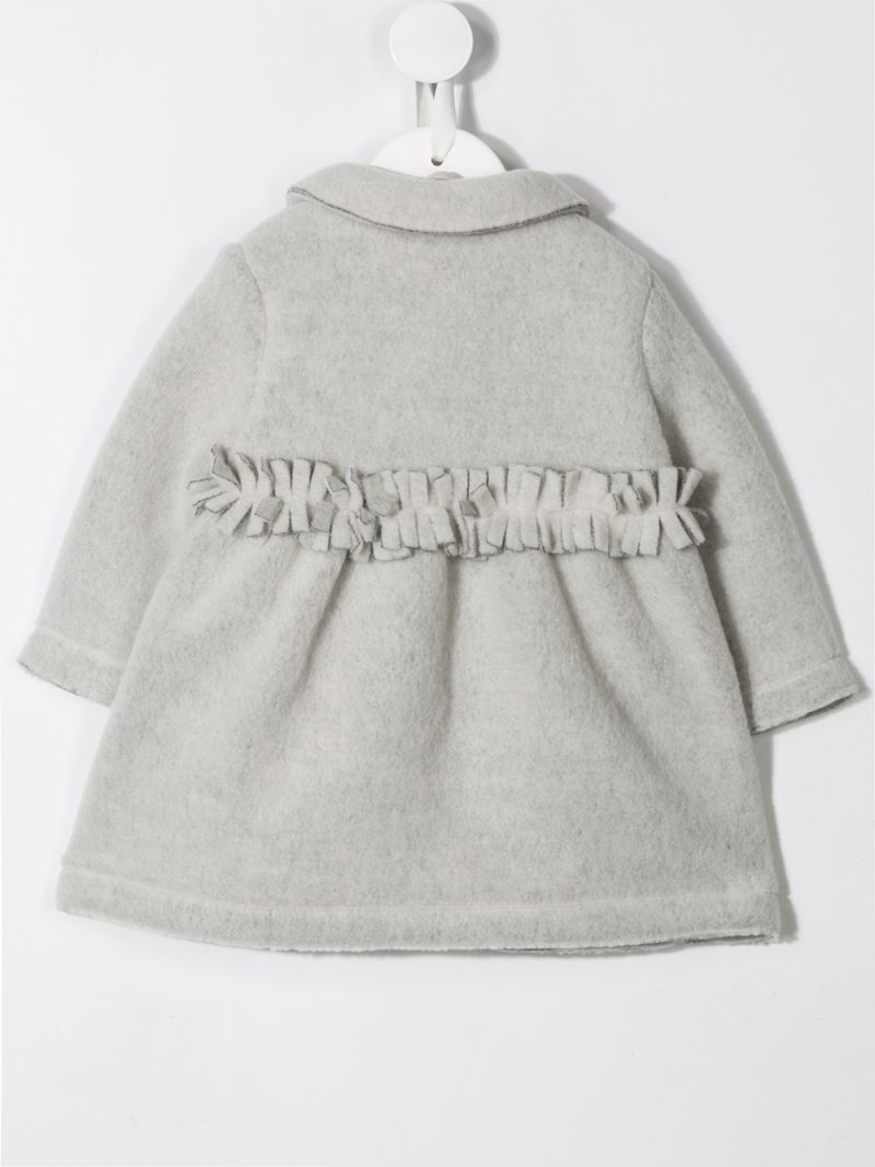 IL GUFO: couture fleece coat with fringed detail Color Black_2