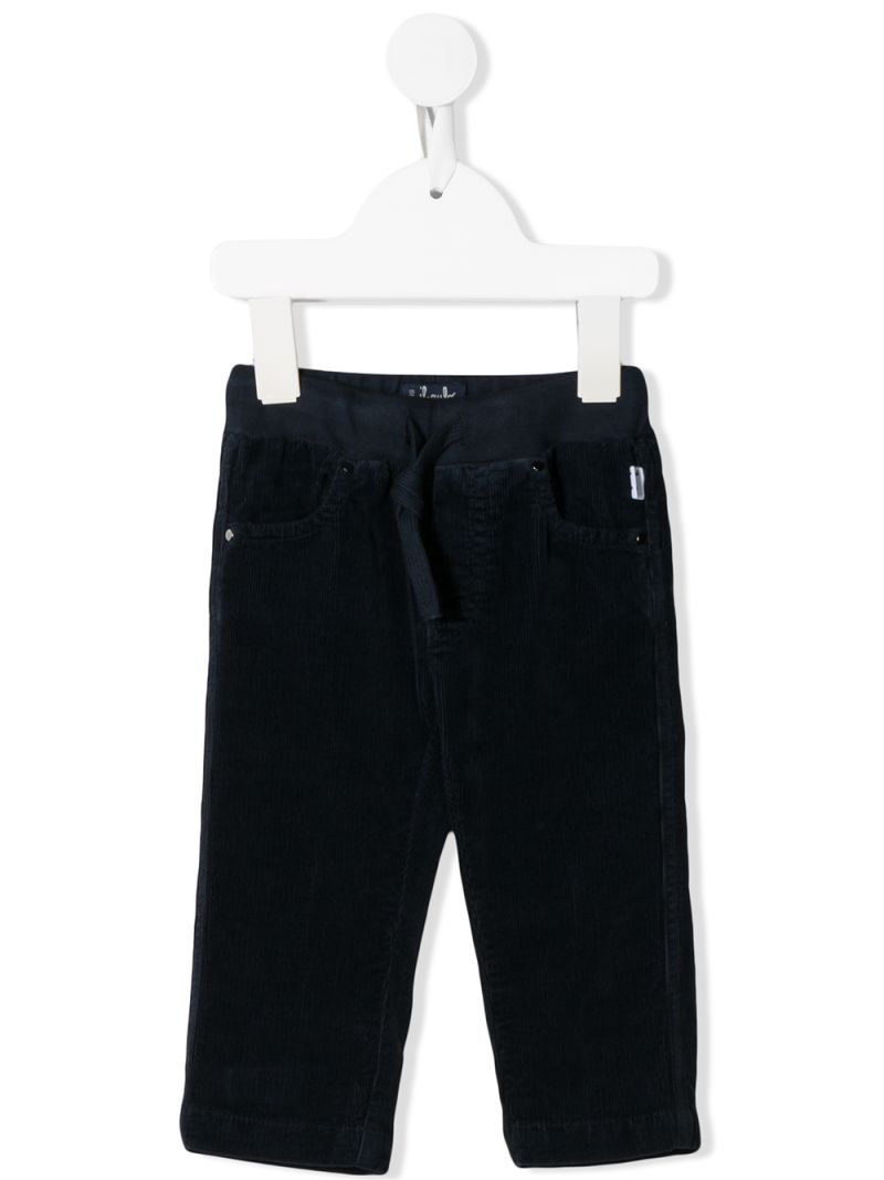 IL GUFO: ribbed velvet straight-fit pants Color Blue_1