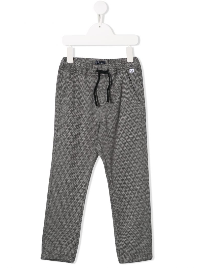 IL GUFO: herringbone cotton joggers Color Black_1