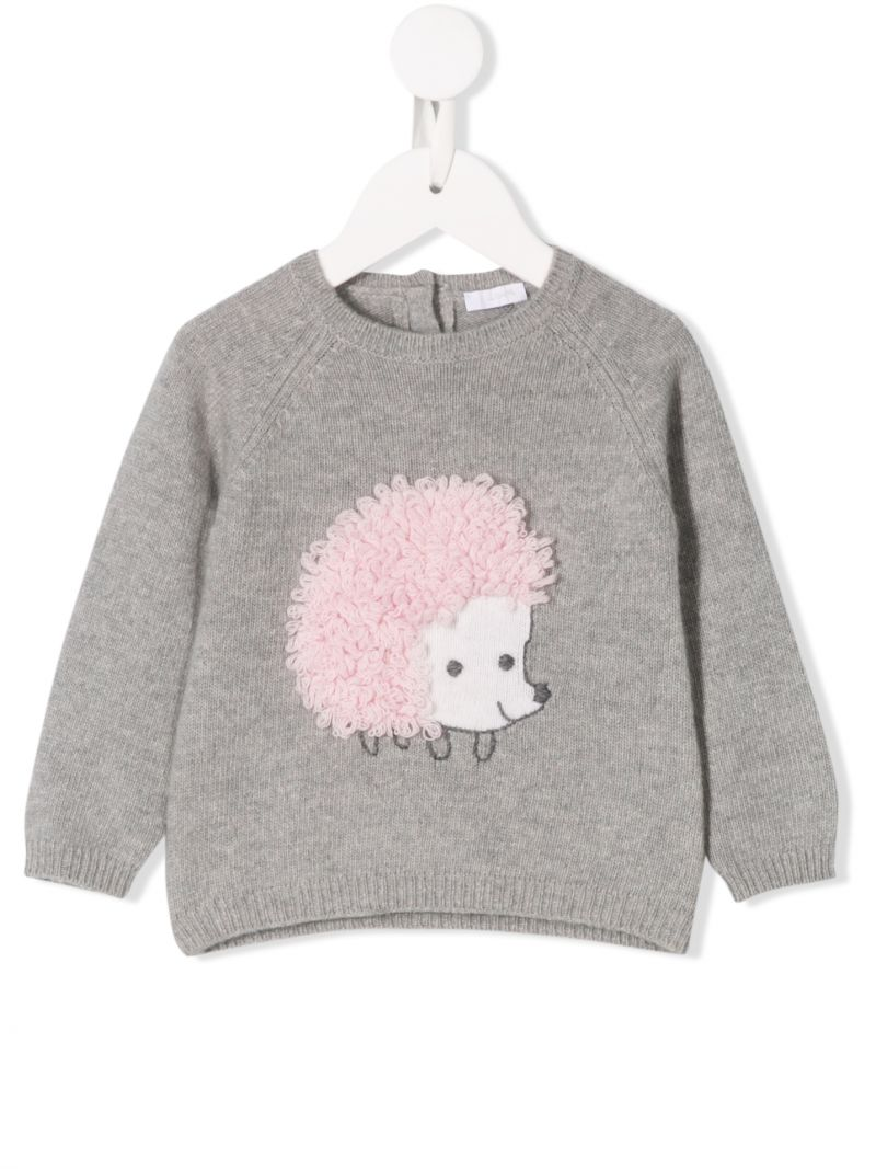 IL GUFO: hedgehog embroidered wool pullover Color Pink_1