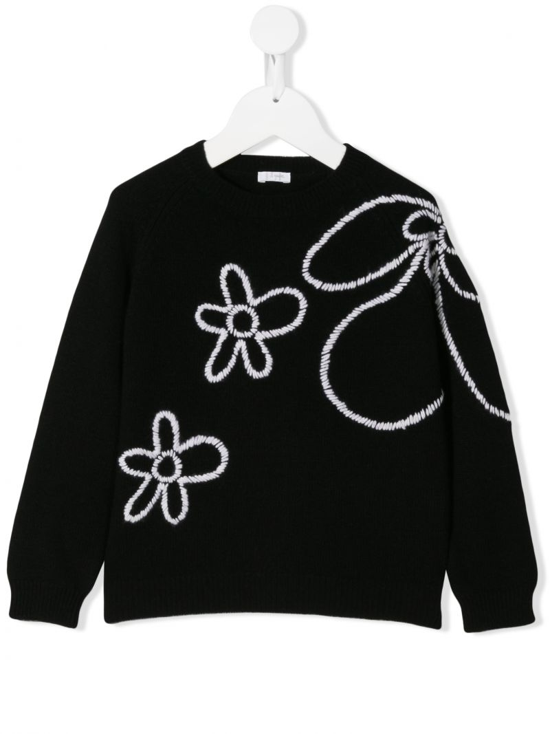IL GUFO: floral embroidered wool pullover_1