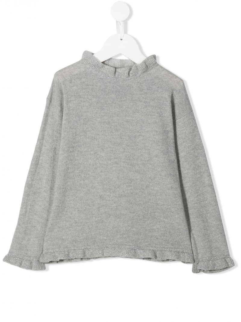IL GUFO: wool pullover with ruched details Color Grey_1