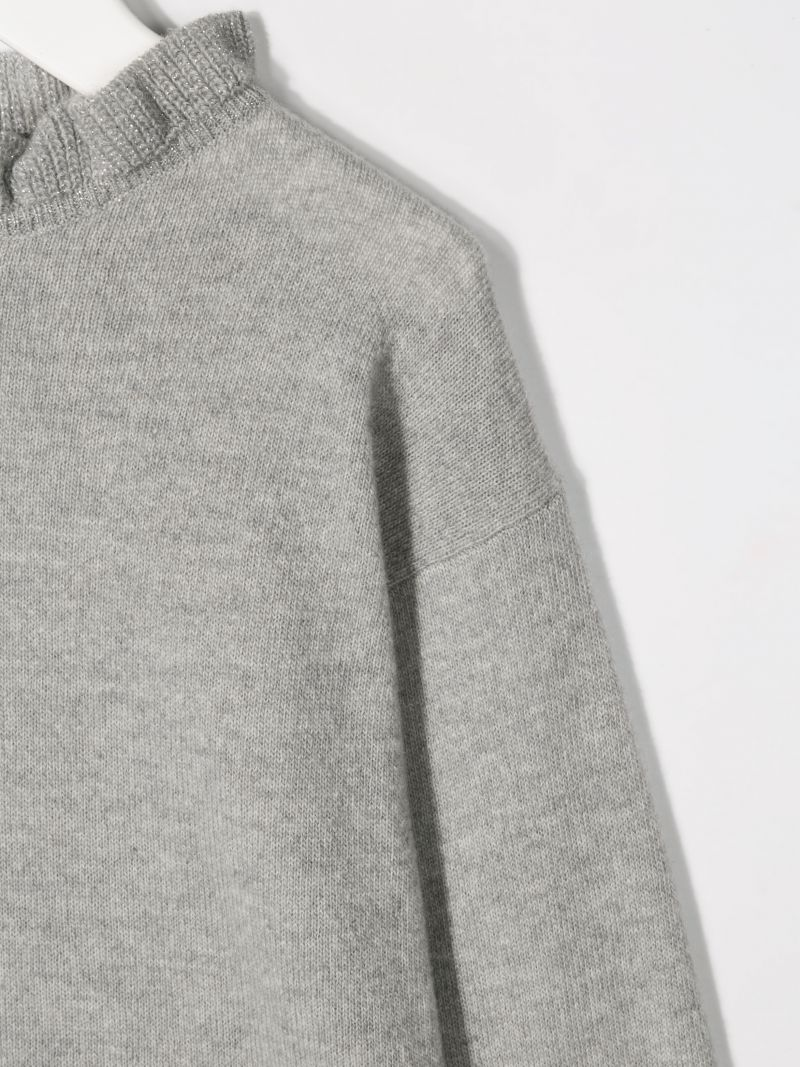 IL GUFO: wool pullover with ruched details Color Grey_3
