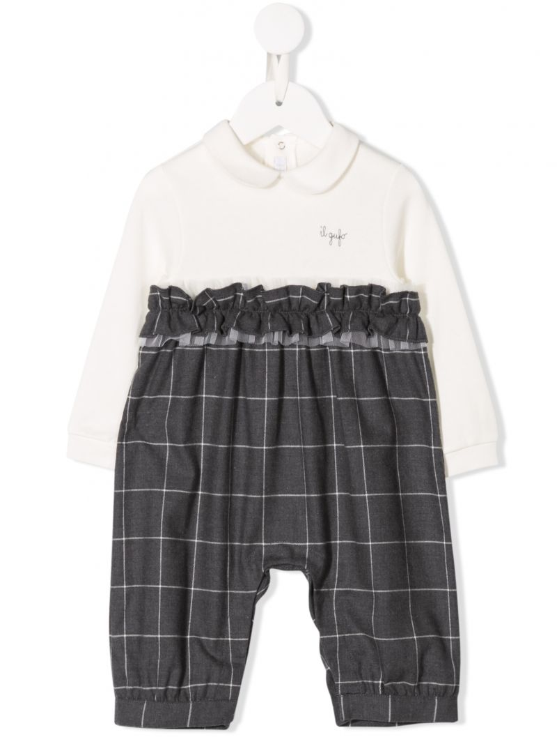 IL GUFO: flannel playsuit wiuth ruched detail Color Black_1