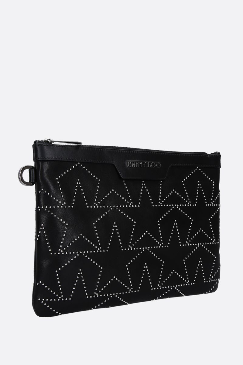 JIMMY CHOO: Derek/S pouch in shiny leather Color Black_2