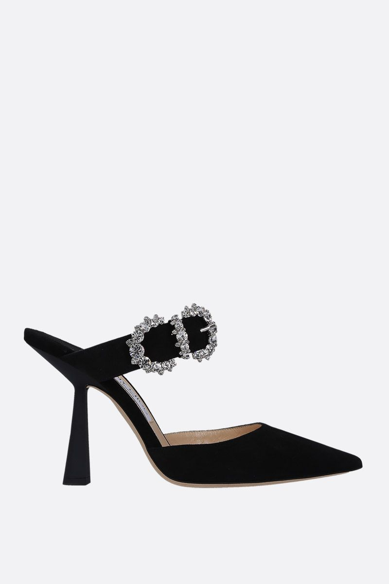 JIMMY CHOO: mule Smokey in suede Colore Nero_1