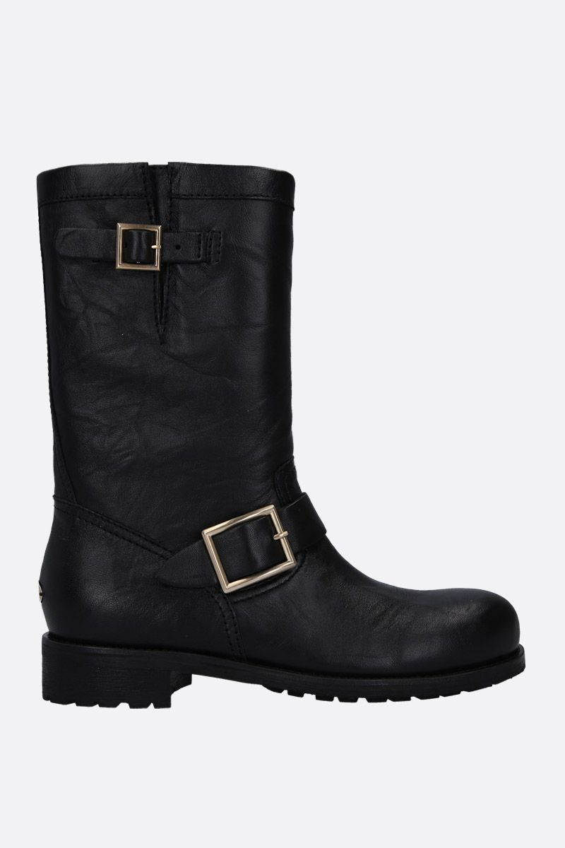 JIMMY CHOO: Biker boots in textured leather Color Black_1