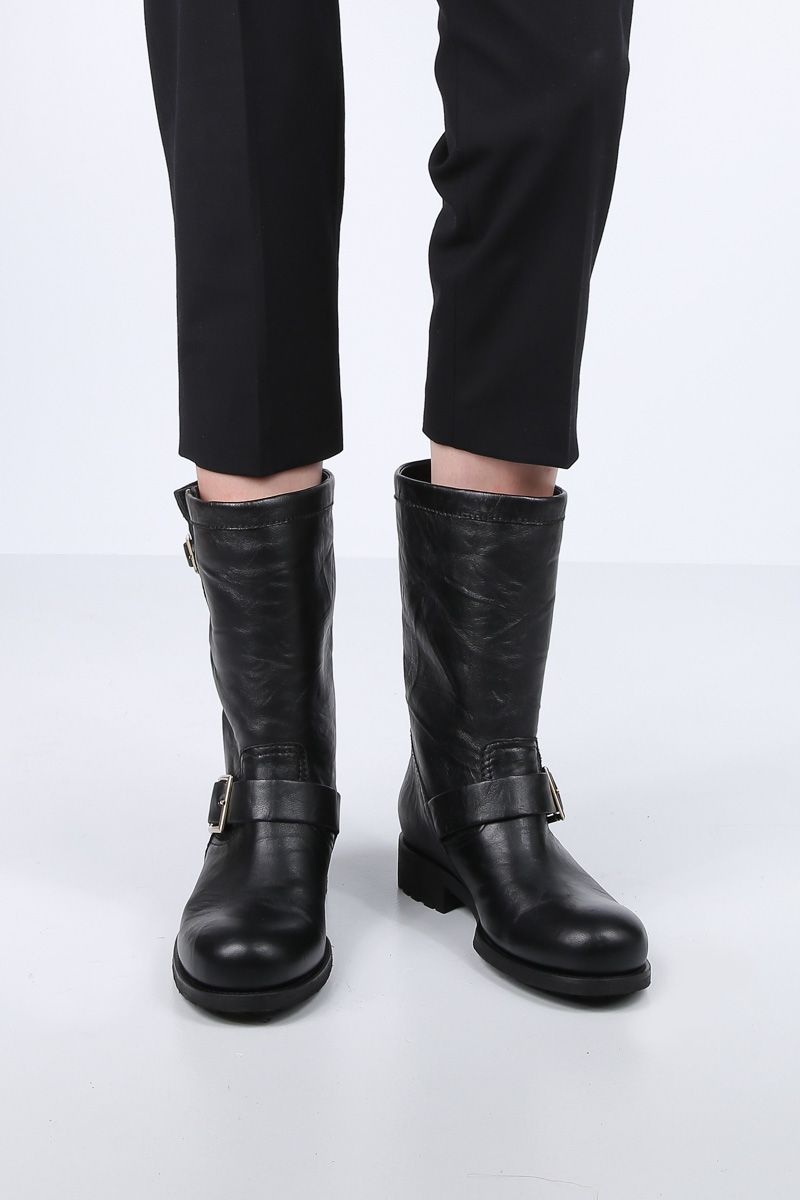 JIMMY CHOO: Biker boots in textured leather Color Black_2