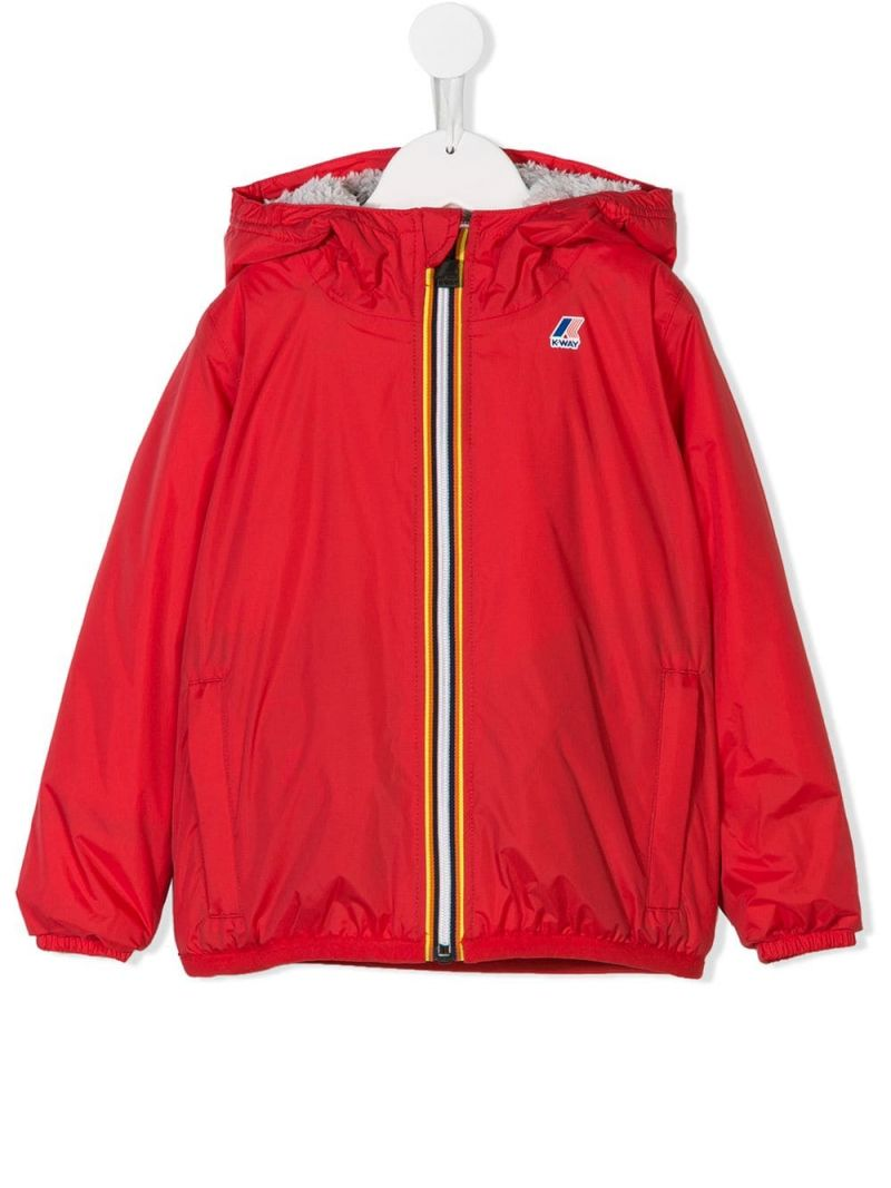 K-WAY KIDS: nylon windbreaker with faux-fur lining Color Red_1
