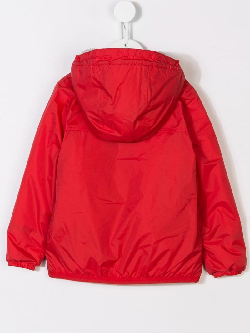 K-WAY KIDS: nylon windbreaker with faux-fur lining Color Red_2