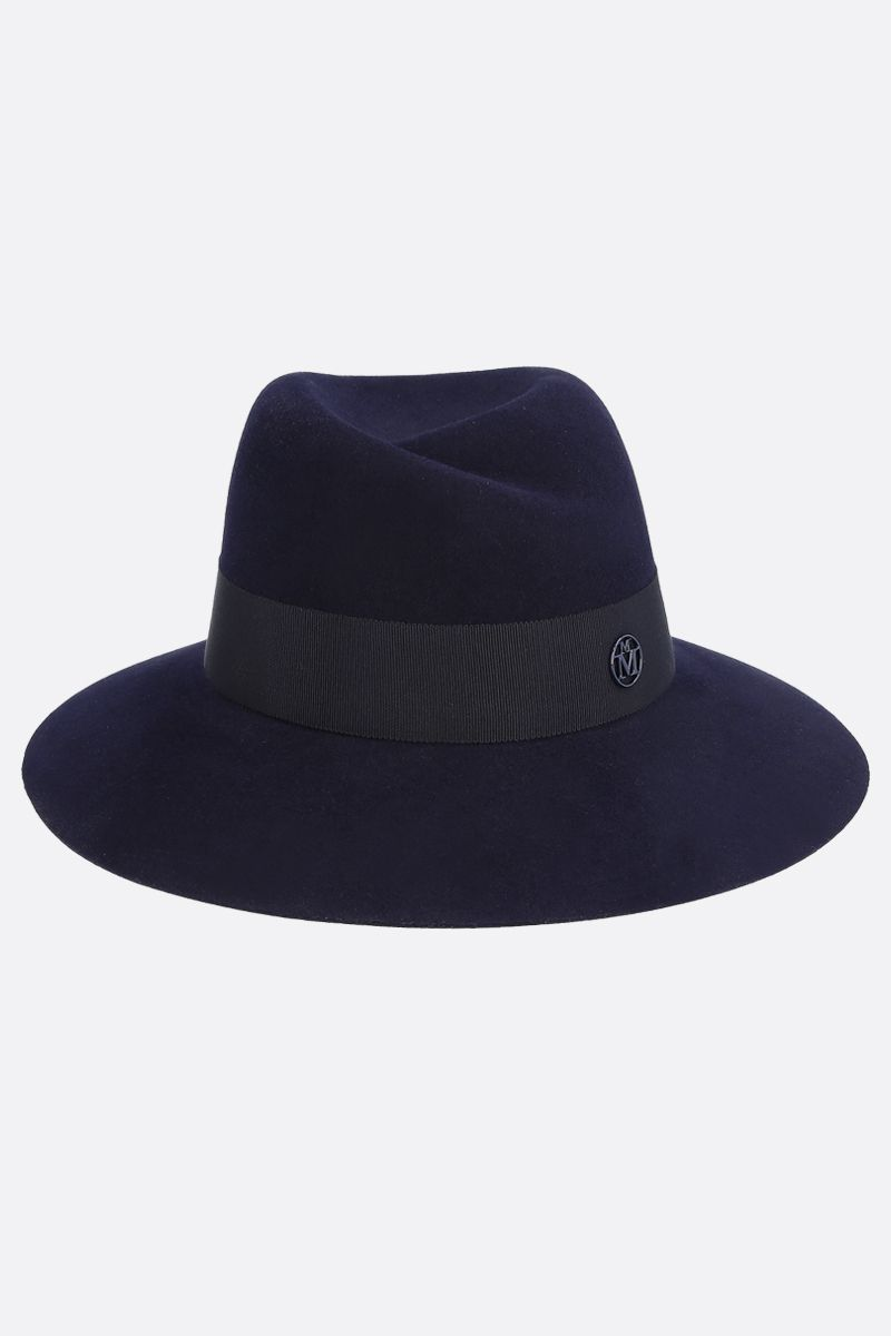 MAISON MICHEL: fedora Virginie in feltro di lapin waterproof Colore Blu_1